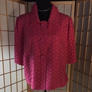 Style& Co- pink/ linen cropped 3 button jacket. 14